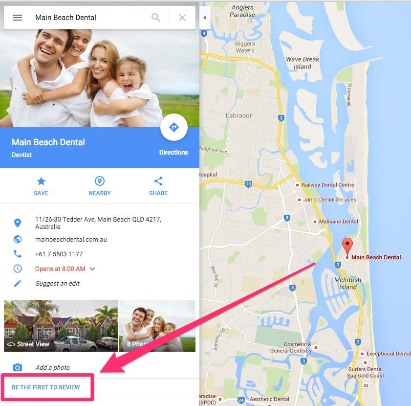 Main Beach Dental | How to leave a review using Gmail + Desktop computer - Dentist Gold Coast
