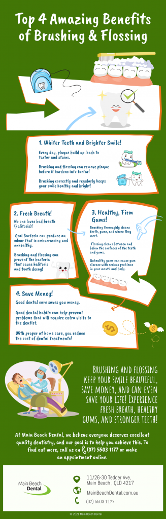top 4 amazing benefits of brushing and flossing from main beach dental